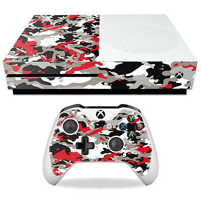 Skin Decal Wrap for Microsoft Xbox One S Red Camo
