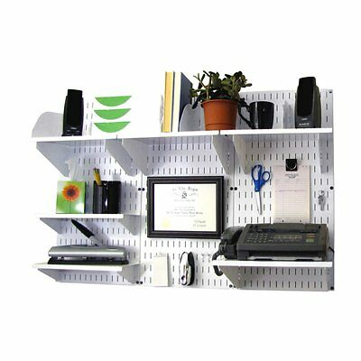 Wall Control Office Wall Mount Desk Storage and Organization Kit - White
