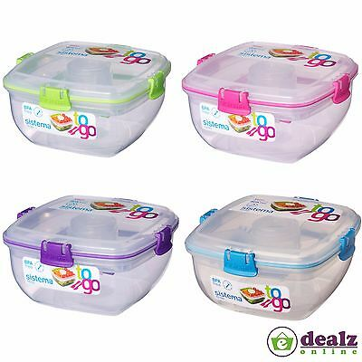 Sistema Salad To Go Food Fruits Lunch Plastic Box Container Fork knife BPA Free
