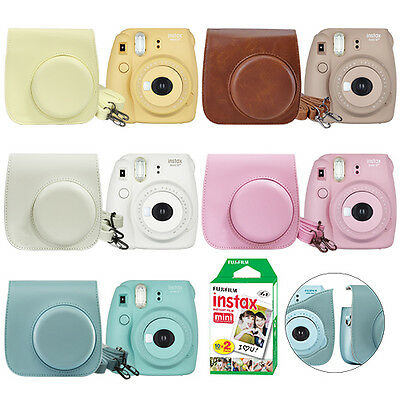 Fuji Instax Mini 8+ Fujifilm Instant Film Camera All Colors+ Case& 20 Film Sheet