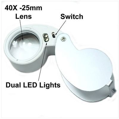 40X 25mm Power Glass Magnifying Jewelers Jewelry Loupe / loop with LED Light