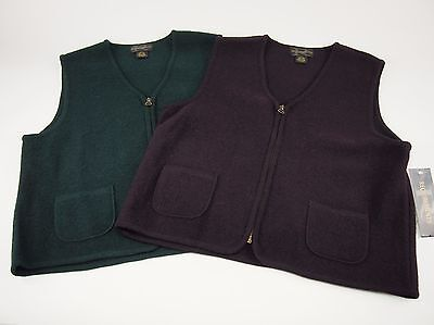 New REQUIREMENTS Lot of two Vintage Wool Zipper Vests Purple & Green Large L