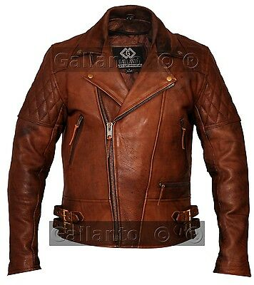 Gallanto Vintage Brown Classic Diamond Armoured Motorcycle Biker Leather Jacket