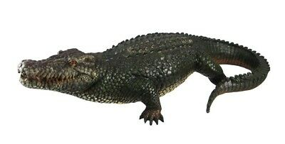 "21"" Long Realistic Guest Shock Greeter Alligator Crocodile Garden Statue Resin"