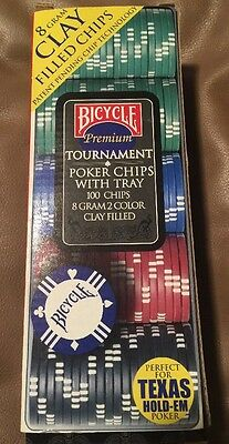 Bicycle Clay Poker Chips Set 100 Count Premium Tournament 8 Gram 2 Color Clay