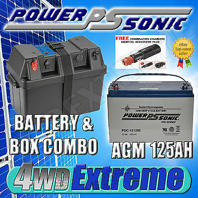 Powersonic 125 Ah Agm Deep Cycle Battery With Projecta Bpe330 Box Extreme Pack