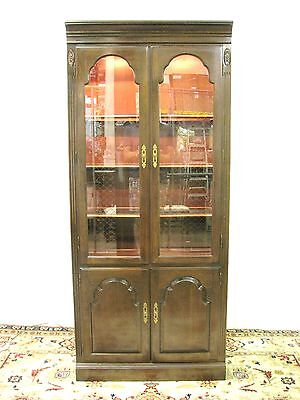 Rare Ethan Allen Georgian Court Illuminated Display Cabinet in Solid Cherry
