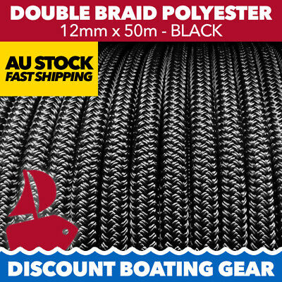 50m x 12mm SOLID BLACK Rope - Double Braid Polyester for Yacht, Boat & Marine