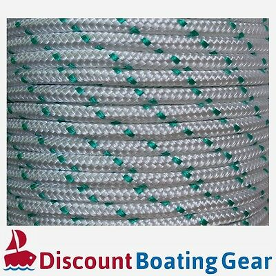 50m x 10mm Double Braid Polyester Rope - Marine/ Boat Grade - GREEN FLECK