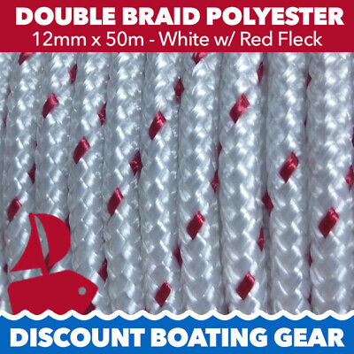 50m x 12mm Double Braid Polyester Rope - Marine/ Boat Grade - RED FLECK