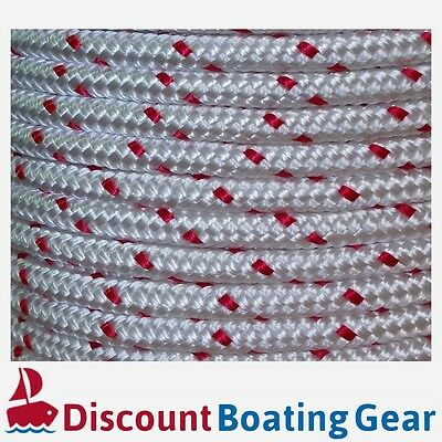 50m x 6mm Double Braid Polyester Rope - Marine/ Boat Grade - RED FLECK