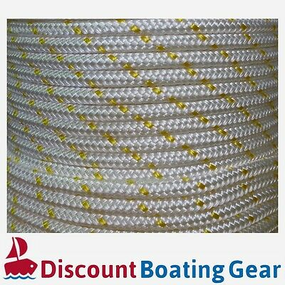 50m x 6mm Double Braid Polyester Rope - Marine/ Boat Grade - GOLD FLECK