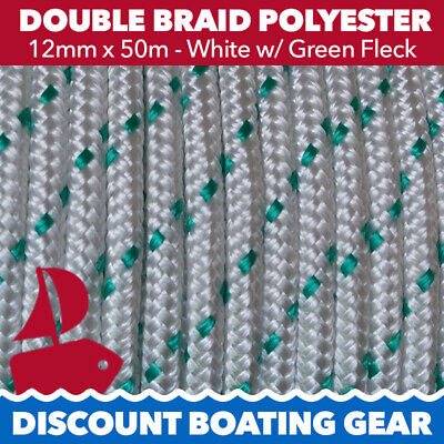 50m x 12mm  Double Braid Polyester Line Boat Rope Marine Mooring GREEN FLECK
