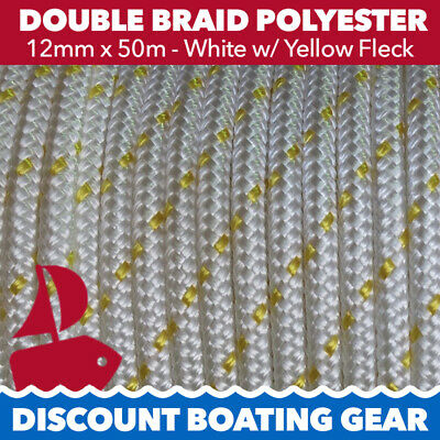 50m x 12mm Double Braid Polyester Rope - Marine/ Boat Grade - GOLD FLECK