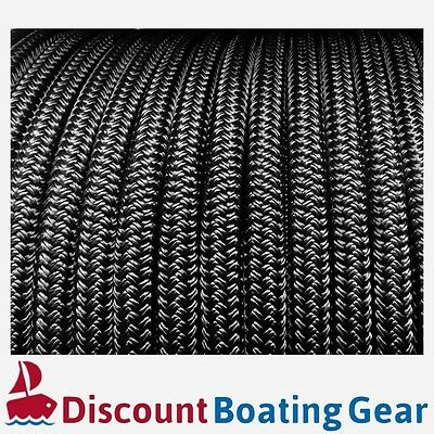 50m x 8mm SOLID BLACK Rope - Double Braid Polyester for Yacht, Boat & Marine