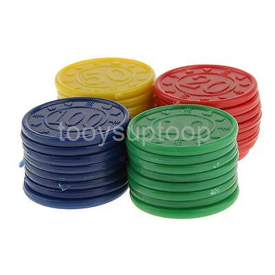 32 Count Plastic Poker Chips Roulette Casino Game - Red Green Blue Yellow