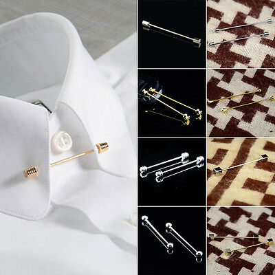 Mens Collar Pin Cravat Tie Clip Clasp Bar Skinny Chic Jewelry Golden Silver