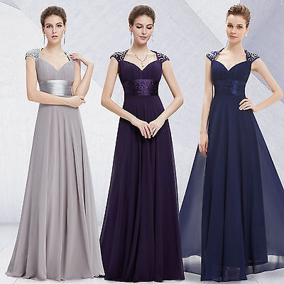 Womens LONG Chiffon Prom Dress Gown Party Formal Evening A-Line Bridesmaid Dress
