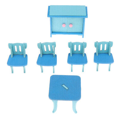 Wooden Doll House Furniture Dinning Dollhouse Miniature Kid Pretend Play Toy