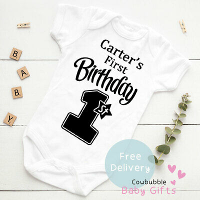 Personalised My First Birthday Baby Vest Grow Christening Bodysuit Baby 1st Bday