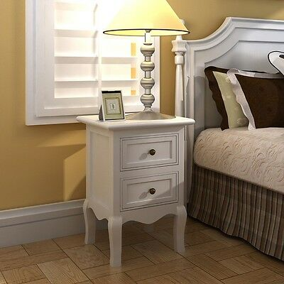 #b Set Of 2 Two White Cabinets Nightstand Bed Stands French Style Mdf Storage