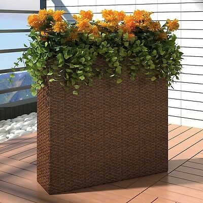 #bNew Outdoor Rattan Planter Garden Rectangle Planter Set with 4 Zinc Pots Brown