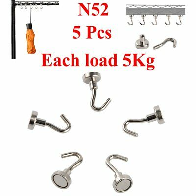 5pcs N52 Home Office Circular Iron Mini Strong Rare Earth Magnet Hook 5KG