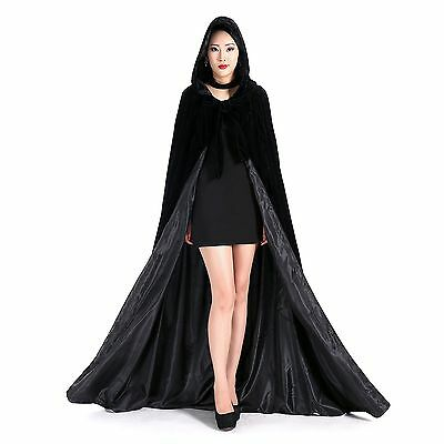Newdeve Halloween Hooded Cloak Medieval Wedding Cape Black Robe Cosplay Small