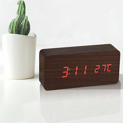 Home Wooden Clock Digital LED Alarm Calendar Thermometer Sound Control Date F7