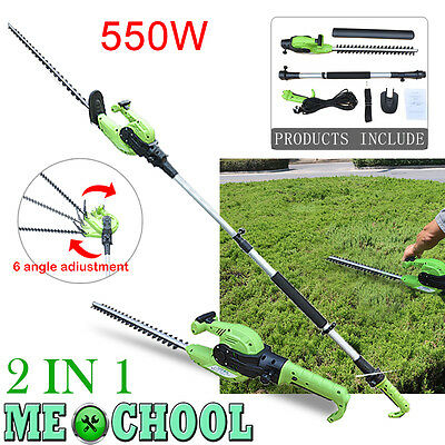 2in1 550W Power Electric Long Reach Telescopic Pole Hedge Trimmer & 61cm Blade
