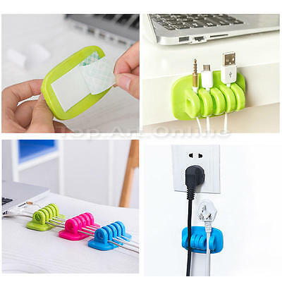 New Cable Clips desk tidy organiser wire cord lead TV USB Charger Holder