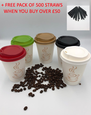 Disposable PAPER Coffee Tea CUPS & GOLD SIP LIDS 100 X 12oz for Hot/Cold Drinks