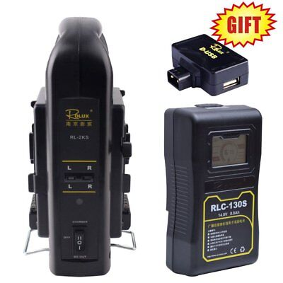 Rolux RLC-130S 130WH Sony LCD Display Li-ion Battery w/ 2KS V-mount Dual Charger