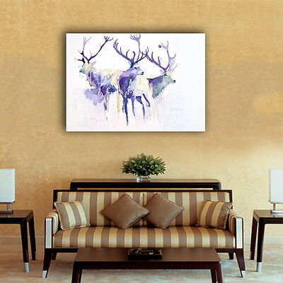 40×60×3cm Watercolor Elk Deer Canvas Prints Framed Wall Art Home Decor Painting