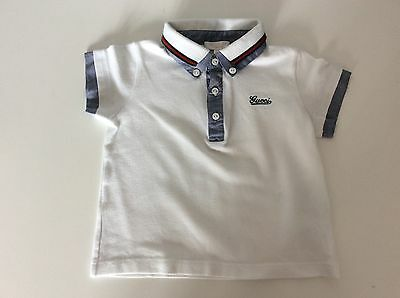 Gucci Baby Boys Polo T Shirt, Top, Size Age 9-12 Months, White, Vgc