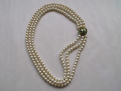 Vintage 3 Row Cream Luster Faux Pearl Side Clasp Necklace 1970's, Peridot Clasp