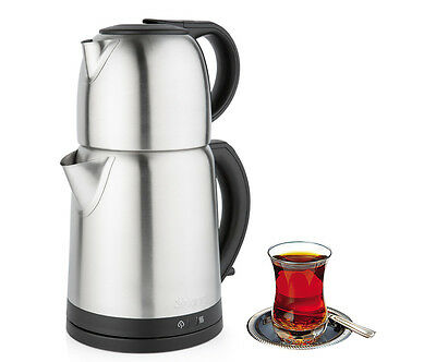 Turkish Electric Tea Maker Stainless Steel Machine Kettle Caydanlik Teapot UK