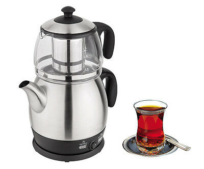 Turkish Electric Tea Maker Stainless Steel Machine Kettle Caydanlik Tea pot UK