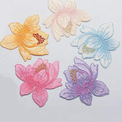 DIY Embroidered Cloth Iron On Patch Sew Motif Applique  Lotus