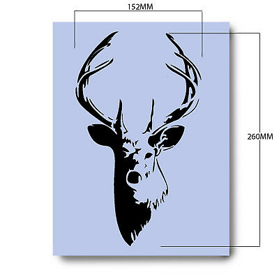 Stag A4 Stencil Shabby Chic French Wall Furniture Fabric Glass Re-usable 038A4