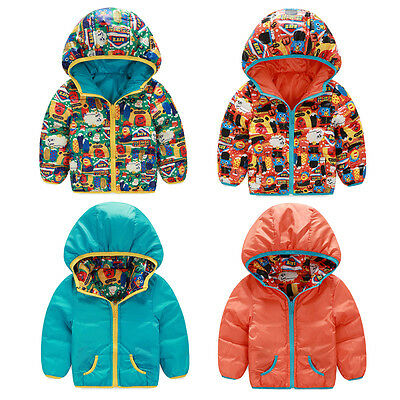 Winter Kids Baby Boys Padded Snowsuits Hooded Warm Coats Down Jacket Outwears AU