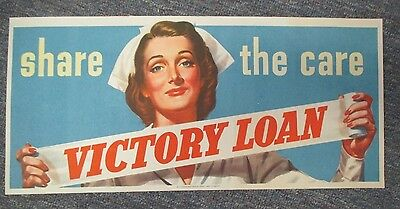 SHARE THE CARE Victory Loan 1945 WW II Poster
