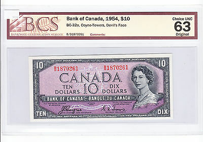 ✪ 1954 Bank of Canada $10 Note, Devil's Face, Coyne Towers - BCS Choice UNC 63