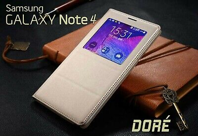 Housse Etui Flip S View Doré Samsung Galaxy Note 4 Auto Smart Case Cover