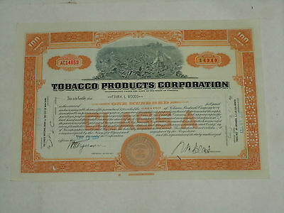 """Tobacco Products Corporation Class A Stock Certificate, """"Orange, Canceled"""" MAN"""