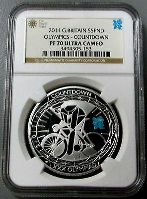 2011 Silver Great Britain 5 Pounds Olympics Countdown Ngc Proof 70 Ultra Cameo