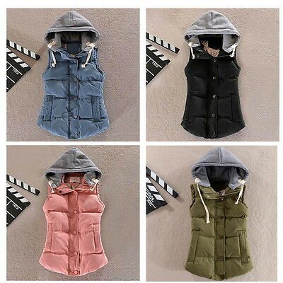 New Women's Winter Vest Padded Warm Hooded Jacket Slim Waistcoat Cotton Coat S