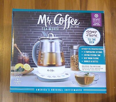 Mr. Coffee 1.2 L Gourmet Tea Maker And Hot Water Kettle, White, HTK100