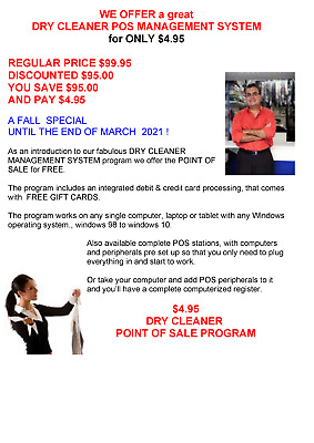 DRY CLEANER MANAGEMENT SYSTEM FREE POINT OF SALE PROGRAM with FREE GIFT CARDS !