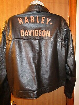 Women's Harley Davidson Lined Leather Jacket Black Size Extra Large Pre-owned